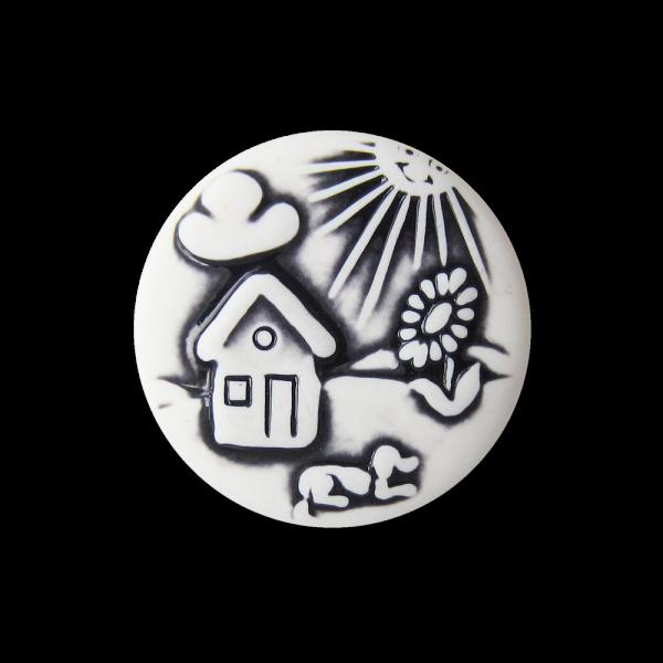Weißer Kinder Knopf mit Haus, Sonne, Blume & Hund