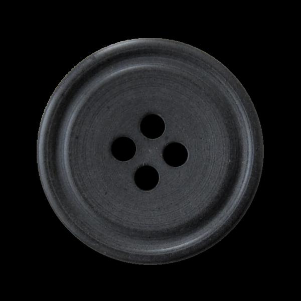 Günstiger matt schwarzer Vierloch Kunststoff Knopf