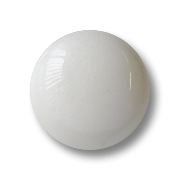 Großer gewölbter weiß glänzender Kunststoff Ösen Knopf