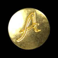 Mattgoldfarbener Knopf mit graviertem A