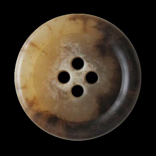 www.Knopfparadies.de - 3638br - Klassische braun melierte Vierloch Kunststoffknöpfe in Horn Optik