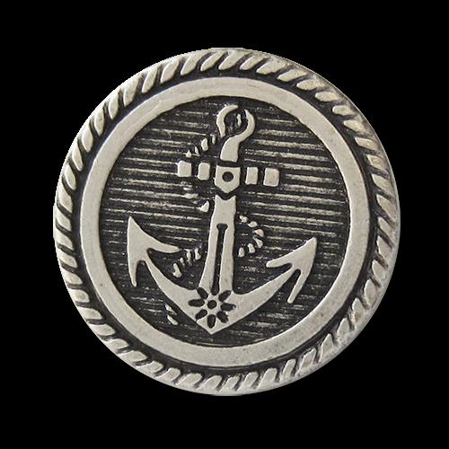 www.knopfparadies.de - 4314as - Metallknöpfe mit Anker in altsilbere