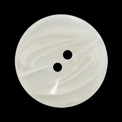 www.knopfparadies.de - 2713we - Transparent-weiße Kunststoffknöpfe mit zwei Löchern