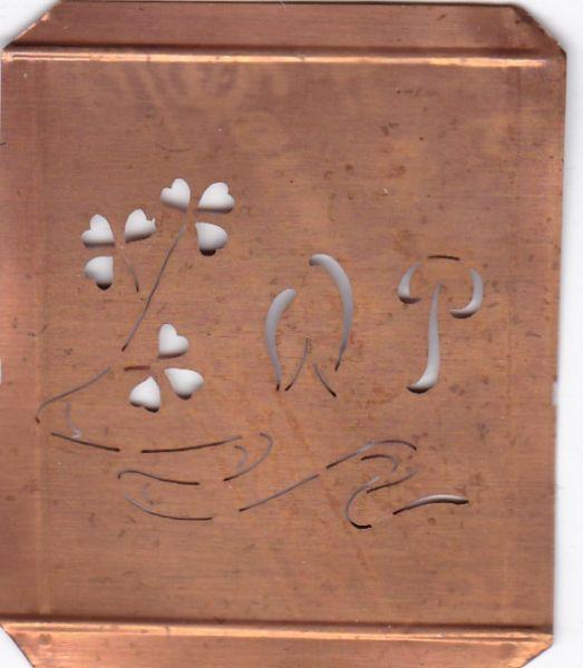www.knopfparadies.de - WP-sch-413 - Außergewöhnliche alte Monogrammschablone WP