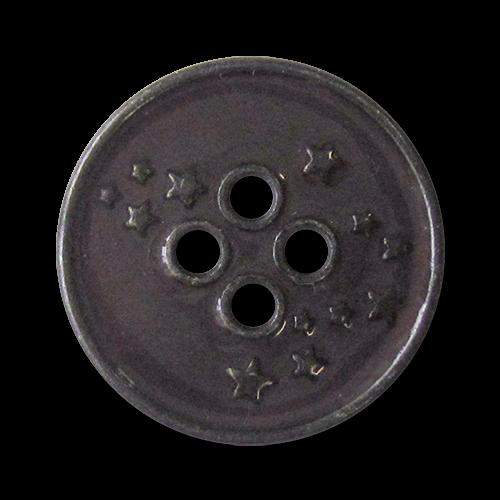 www.Knopfparadies.de - 4276lc - Freche Sternknöpfe aus Metall in Lila & Eisen