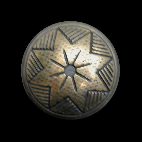Altmessingfb. Metallknopf mit Sternmuster