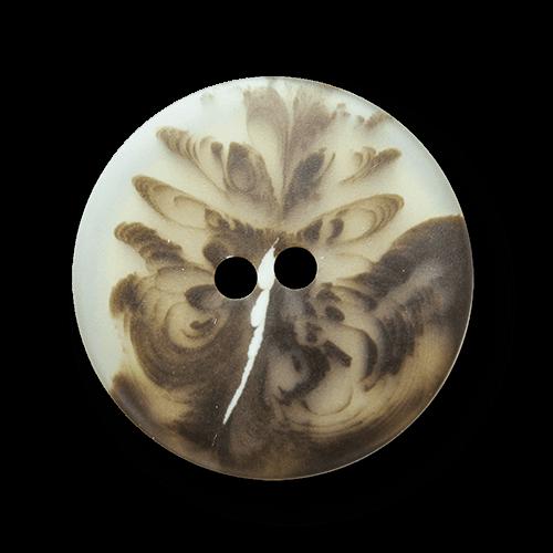 Aparter braun gefiederter Zweiloch Kunststoff Knopf