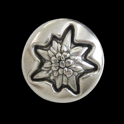 www.Knopfparadies.de - 5966si - Silberne Edelweißknöpfe aus Metall mit leichten Mängeln