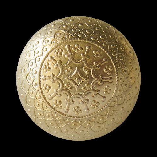 www.knopfparadies.de - 1546mg - Nostalgische matt goldene halbkugelförmige Metallknöpfe mit filigranen Ornament Muster