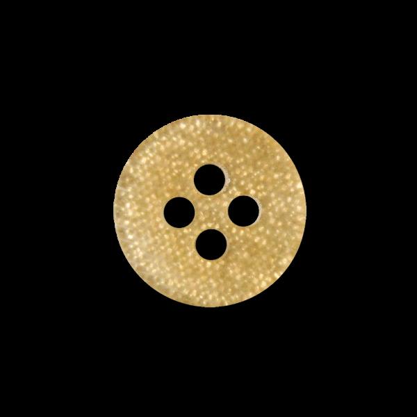 Kleiner gold glitzernder Vierloch Kunststoff Knopf