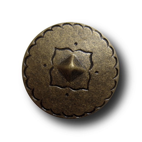 Sehr großer altmessingfarb. Mittelalter Metall Knopf