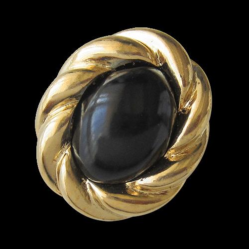 www.Knopfparadies.de - 1592sg - Elegante schwarz goldfarbene Schmuckknöpfe aus Kunststoff