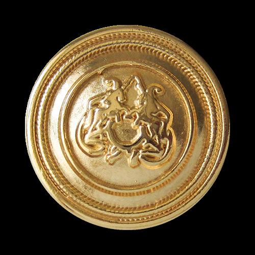 www.Knopfparadies.de - 2453gg - Gold glänzende Ösen Metallknöpfe mit Pferde Motiv