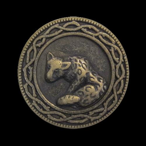 www.knopfparadies.de - 0564am - Altmessingfarbene Metallknöpfe mit detailliertem Reliefmotiv: Jaguar