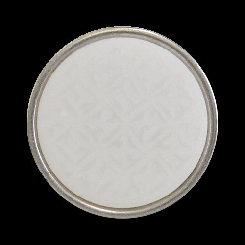 www.Knopfparadies.de - 0512we - Edle gemusterte Metallknöpfe in Silber & Weiß