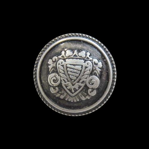 www.knopfparadies.de - 5977ei - Eisenfarbene Metallknöpfe mit Wappenmotiv