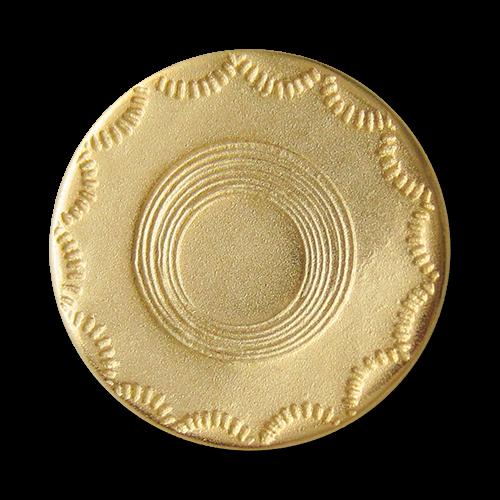 www.Knopfparadies.de - 2514mg - Älter wirkende matt goldene Metallknöpfe mit schlichtem Muster