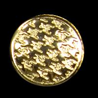 Goldfarbene Metallknöpfe mit Hahnentrittmuster