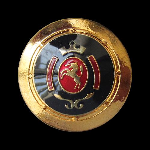 www.Knopfparadies.de - 0317rg - Blau rot goldene Metallknöpfe mit Einhorn Wappen