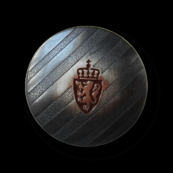 Gestreifter Metall Knopf mit Wappen, Löwe & Krone
