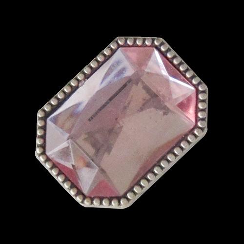 Opulente Metallknöpfe in altsilber mit rosafarbenem Glitzerstein