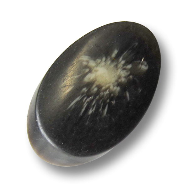 Eiförmiger braun melierter Mantel Knopf in Horn-Optik