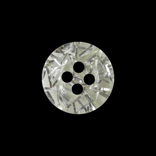 www.Knopfparadies.de - hk023st - Kleine transparente Blusenknöpfe mit silbernen Glitzerfäden