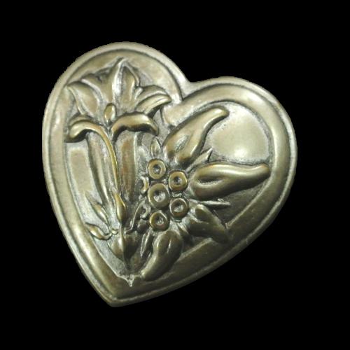 Herzförmiger Trachten Knopf mit Enzian und Edelweiß