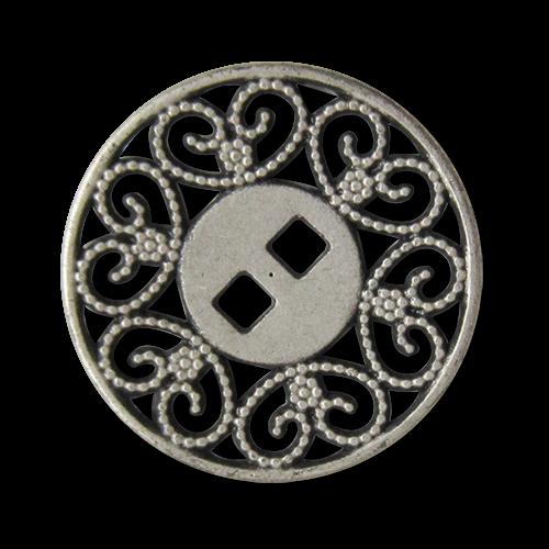www.knopfparadies.de - 2553as - Wunderschöne Metallknöpfe mit zwei eckigen Löchern und Durchbruchmuster