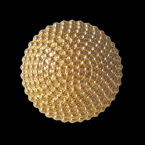 Edler Metall Ösen Knopf in glänzend Goldfarben mit feinem Kugel Relief