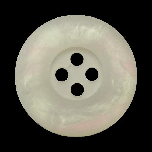www.Knopfparadies.de - 3030cw - Weiße Vierloch Kunststoffknöpfe mit irisierendem Schimmer
