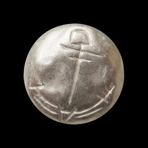 Metall Knopf mit eingeritzt wirkendem Anker Motiv
