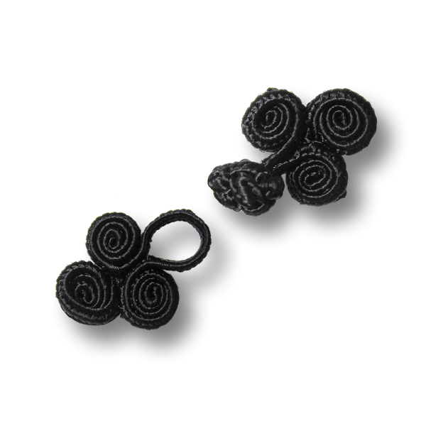www.Knopfparadies.de - 1236sc - Kleine spiralfömige schwarze Posamentenverschlüsse