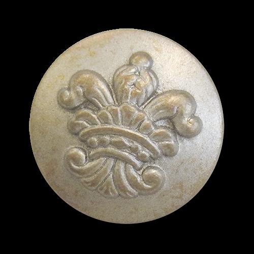 www.Knopfparadies.de - 2541vi - Leichte Ösenknöpfe in Silber & Messing mit Lilienmotiv
