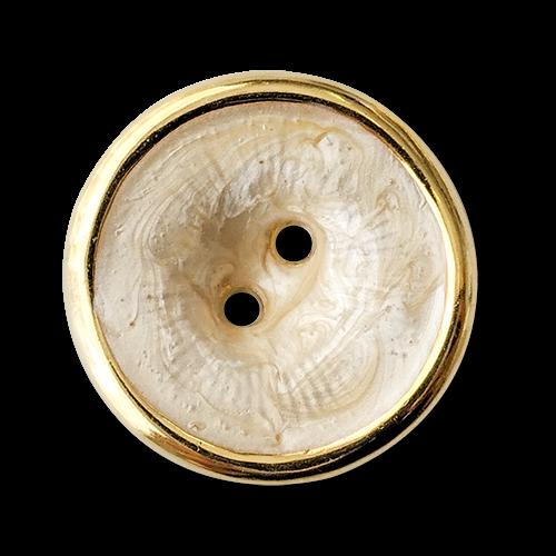 www.knopfparadies.de - 6036pg - Ausgefallene Kunststoffknöpfe mit zwei Löchern und goldenem Rand
