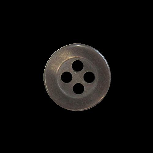 www.Knopfparadies - 5953br - Attraktive kleine braune Kunststoffknöpfe in Perlmuttoptik mit vier Knopflöchern