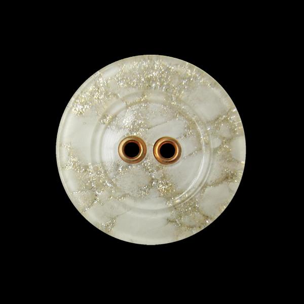 Edler weißer Kunststoff Knopf mit Gold Glitzer