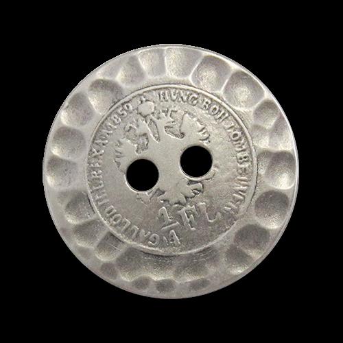 www.Knopfparadies.de - 0700as - Älter wirkende Metallknöpfe mit Münzmotiv in Altsilber