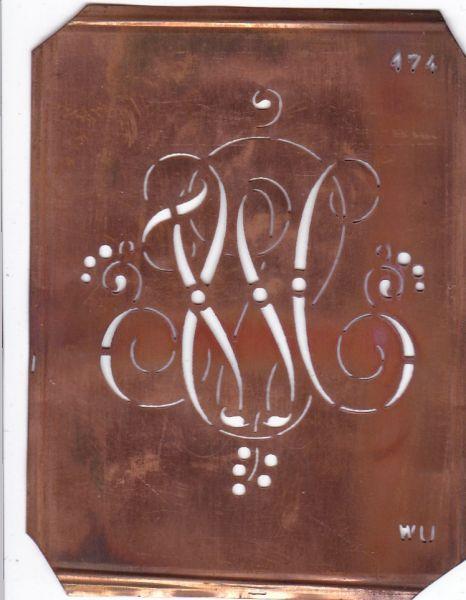 WU - Alte Monogramm Schablone mit Schnörkeln