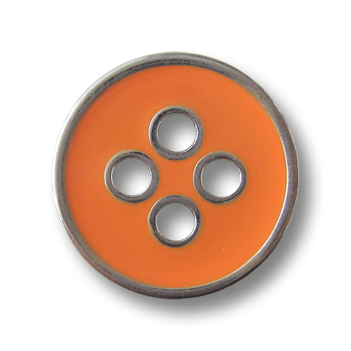 Moderner orange silberfarbener Vierloch Metallknopf