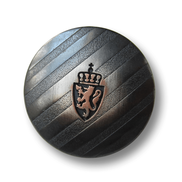 Metall Knopf mit Wappen, Löwe & Krone / B-WARE