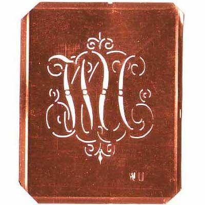 www.knopfparadies.de WU-sch-555 - Verschnörkelte, alte Kupferschablobe zum Sticken von Monogramm WU