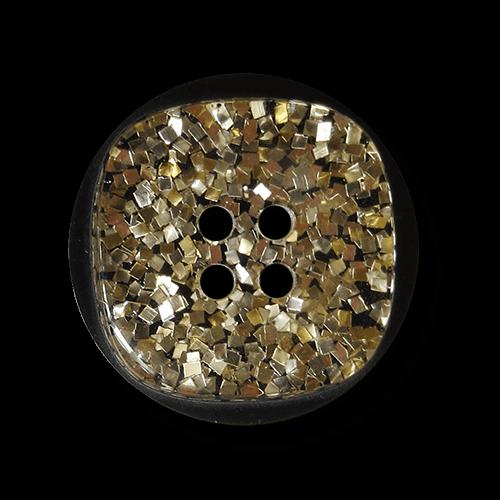 Schwarzer Knopf mit silber- & goldfb. Glitzerpartikeln