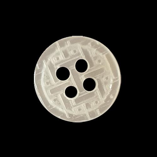 www.knopfparadies.de - k290we - Weiße 4-Loch Blusenknöpfe mit plastischem Muster