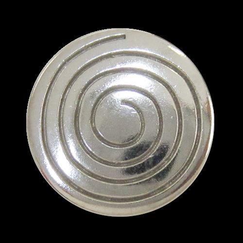www.Knopfparadies.de - 3053si - Auffällige Motivknöpfe mit Spirale aus Metall in Silber