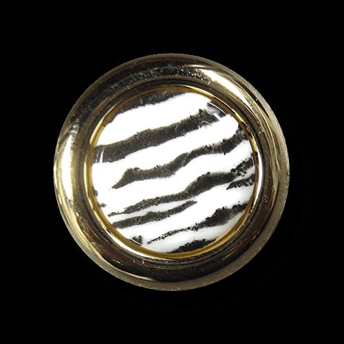 www.knopfparadies.de - 2021go-schwarz-weiß-gold-farbene Kunststoffknöpfe