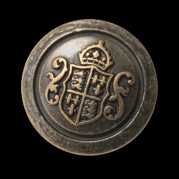 Edler Metall Ösen Knopf mit Wappen, Krone und Zierbögen in Altmessingfarben