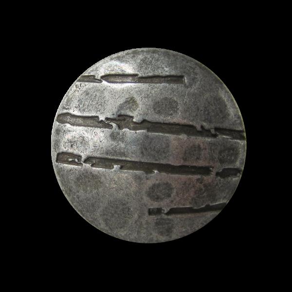 Eigenwilliger alteisenfb. Metall Knopf mit Kerben