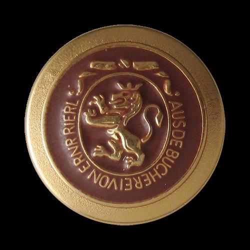 www.Knopfparadies.de - 0311bg - Edle Metallknöpfe in Gold und Mittelbraun mit Löwen Motiv