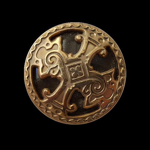 www.knopfparadies.de - 5918gs - Goldfarbene Metallknöpfe mit majestätischem Motiv